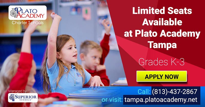 Limited seats available at Plato Academy Tampa for Grades K-3 - Apply Now