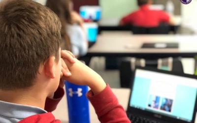 Students create digital books in class