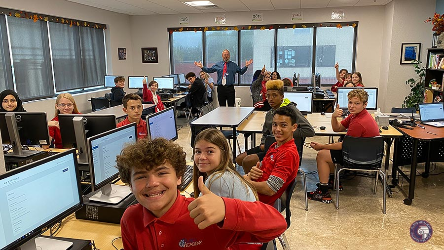 Plato Academy Students work in the school computer lab