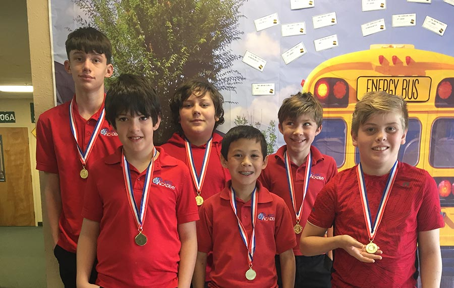 Plato Academy St Pete 6th grade boys team with their medals
