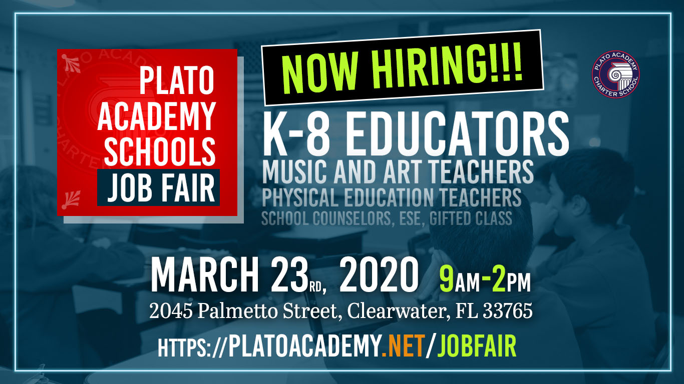Plato Academy Job Fair is on March 23 from 9am to 2pm. Click for more information