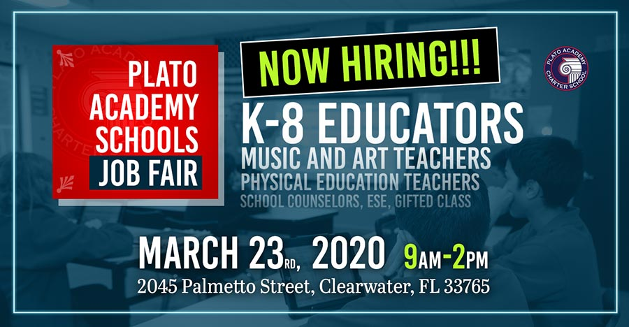 Plato Academy Job Fair is on March 23 from 9am to 2pm.