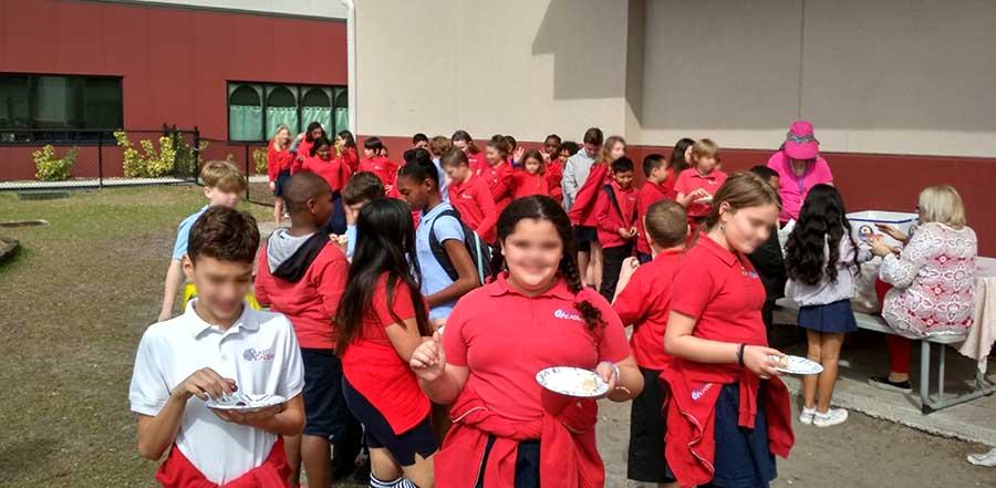 Students enjoying greek food
