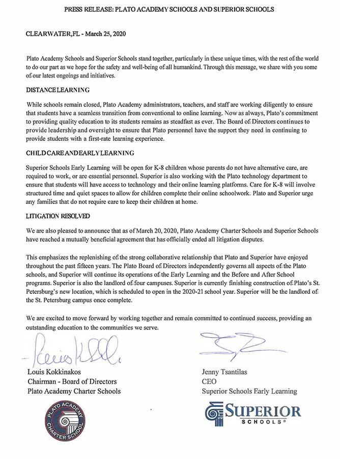 Joint Press Release, Plato Academy Schools & Superior